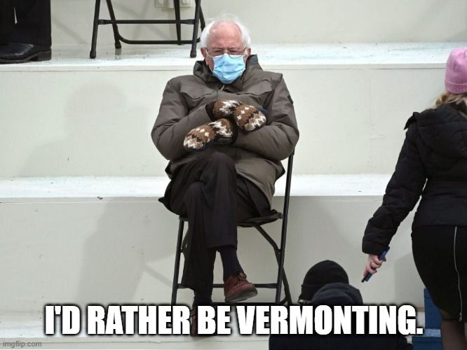 """Senator Bernie Sanders wearing mittens with quote """"I'd rather be Vermonting"""""""