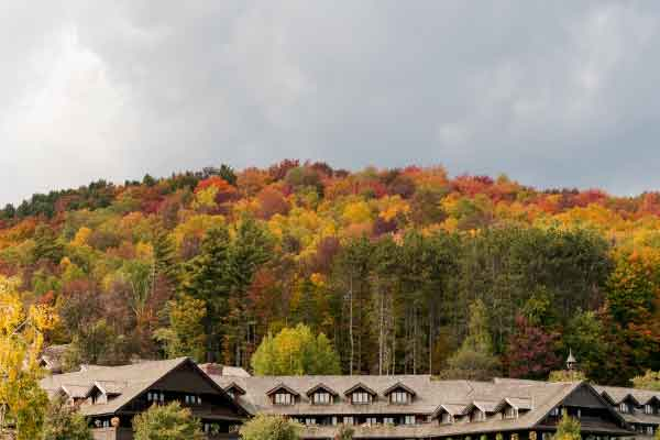 trapp family lodge building with tree foliage